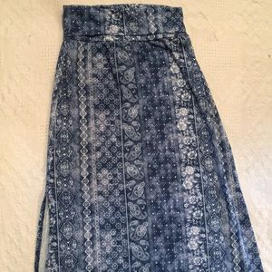 Joe B Womens Maxi Blue Skirt Medium Stretch
